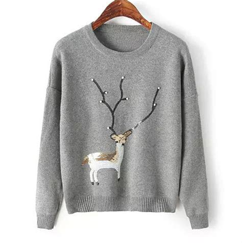 Bow Sleeve Sweater Pink Yellow White Blue sleeve sweater featuring embroidered reindeer with sequins white grey yellow navy
