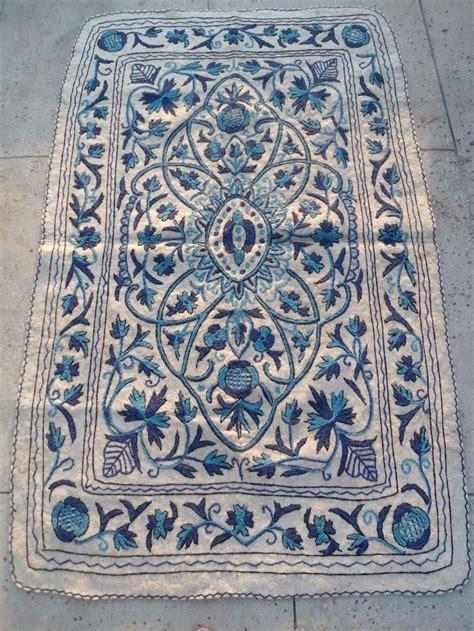 wool felt rug kashmir crewel embroidered wool felt rug namdah namdha 4x6 blue white 2