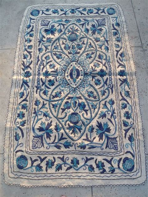 wool felt rugs kashmir crewel embroidered wool felt rug namdah namdha 4x6 blue white 2