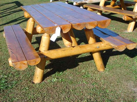 log picnic table plans for the home picnic