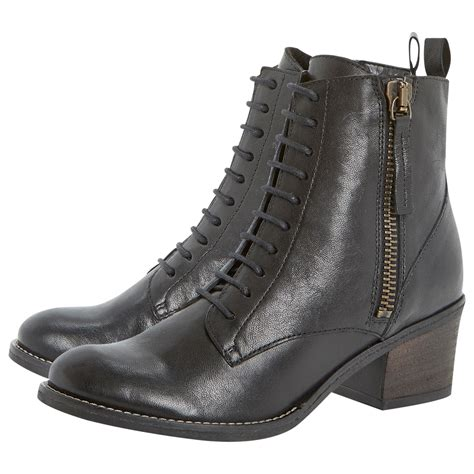 dune boots dune percey leather lace up ankle boots in black lyst