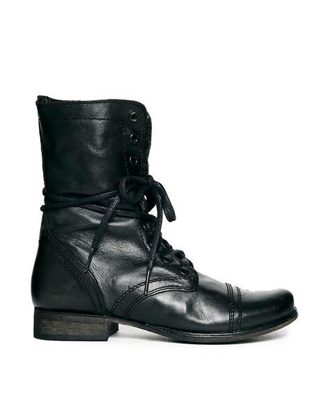 steve madden steve madden black troopa lace up boots at asos