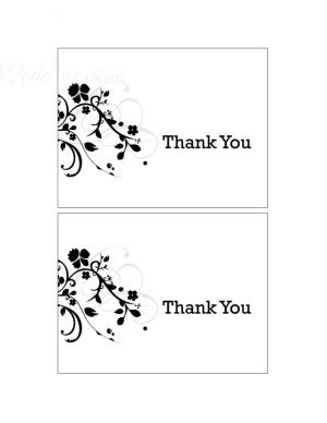 thank you card printing templates printable black and white floral thank you card new
