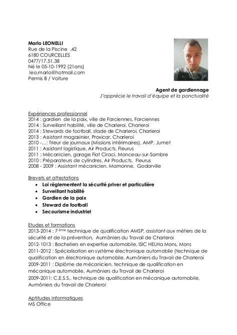 exemple cv gardiennage cv anonyme