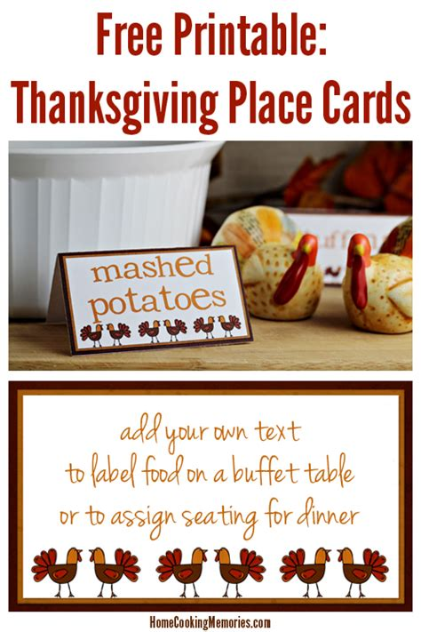 Table Place Cards Template Thanksgiving by Free Printables Thanksgiving Place Cards Home Cooking