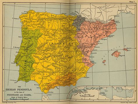 where is iberian peninsula on a map cambridge modern history atlas 1912 perry casta 241 eda map
