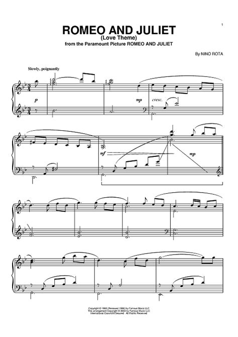 romeo and juliet love theme piano romeo and juliet love theme sheet music for piano and