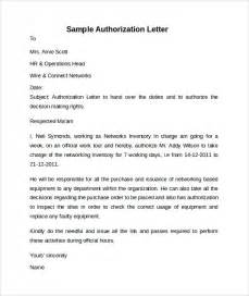 Authorization Letter Sample For Wife sample letter of authorization 9 free documents in pdf word
