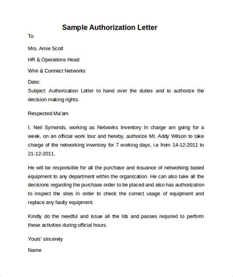 authorization letter due to working abroad sle letter of authorization 9 free documents in pdf
