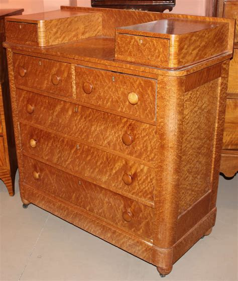 19th c birdseye maple chest of drawers with glove boxes at