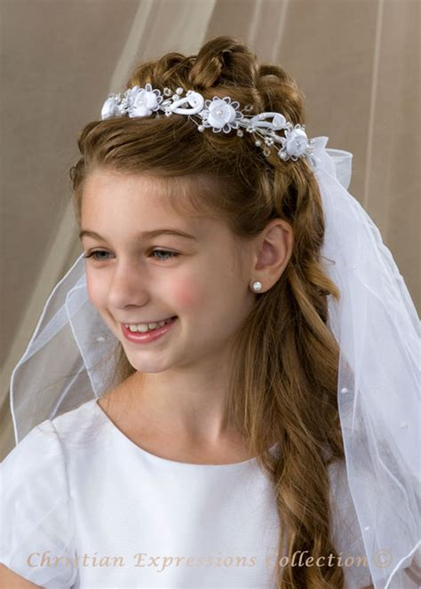cute hairstyles for first communion communion hairstyle with headband wedding bridal flower