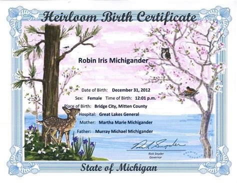 State Of Michigan Birth Records Mdhhs Heirloom Birth Certificates