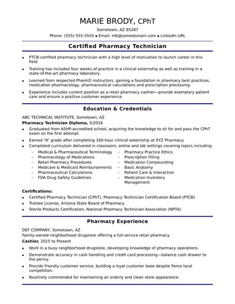 Pharmacy Technician Resume by Entry Level Pharmacy Technician Resume Sle