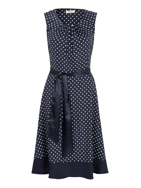 Dress Navy Polkadot precis navy polka dot belted dress in blue lyst