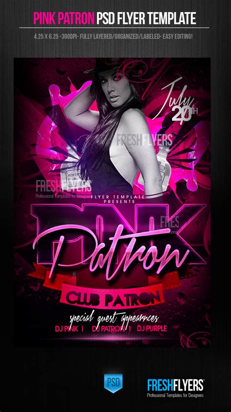 flyer design deviantart pink patron party flyer template by imperialflyers on