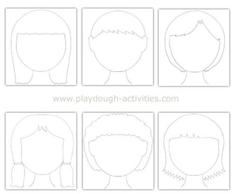 playdough face mats outline templates