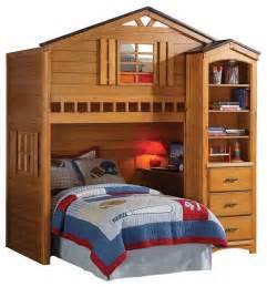 Desk And Bed Set Rustic Oak Tree House Bunk Loft Bed W Desk