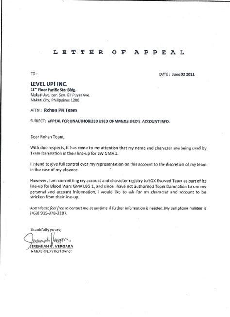 College Letter Appeal Appeal Letter For College Admission Sle College Admission Appeal Letter Exle Sle For