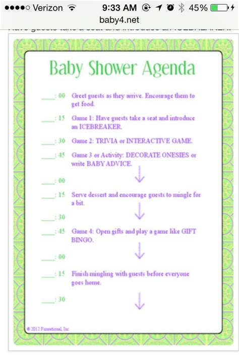 Baby Shower Agenda Template by Baby Shower Itinerary Baby