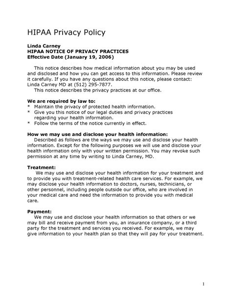 Privacy Policy Healthcare Privacy Policy Template