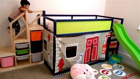 Ikea Cabinet Ideas by Ikea Kura Bed Hack Fire Engine Play And Slide Structure