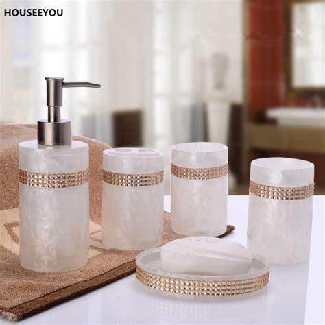 beautiful bathroom sets european beautiful inlaid stones 5pcs resin bathroom accessories set