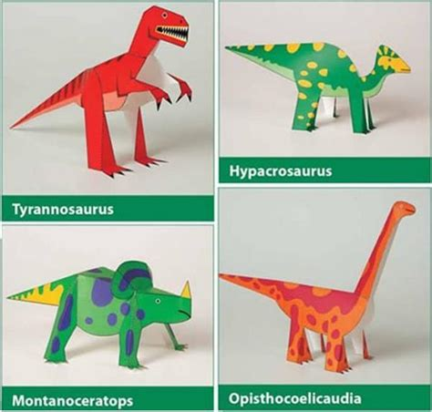 How To Make A Dinosaur Model From Paper Mache - dinosaurs kiragami for easy to make paper toys