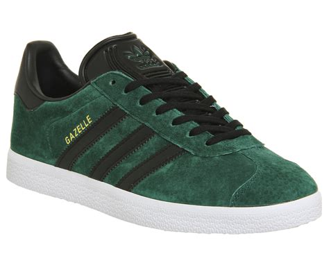 green and black shoes adidas gazelle collegiate green black gold trainers shoes