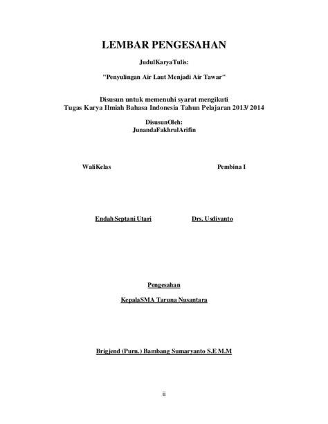 syarat untuk membuat judul skripsi lembar pengesahan