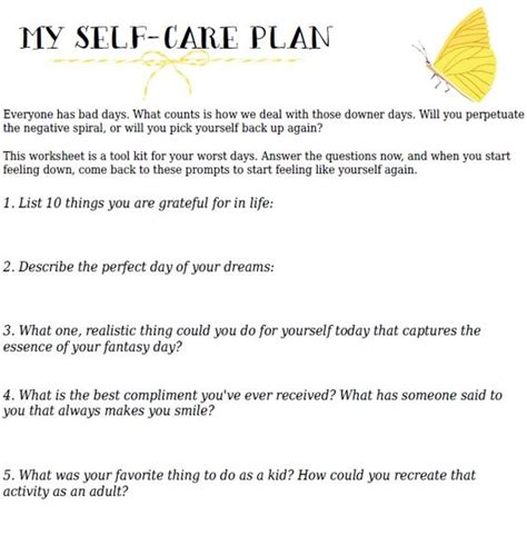your self care action plan free printable worksheet