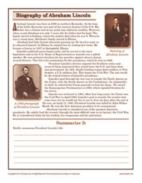 biography of abraham lincoln summary biography of abraham lincoln 6th 8th grade worksheet