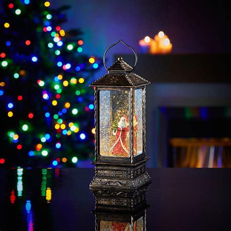 led santa glitter lantern