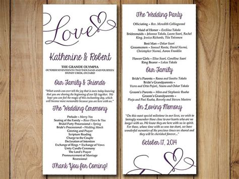 Wedding Blessing Order Of Service Template by Diy Wedding Program Template Eggplant Purple Quot