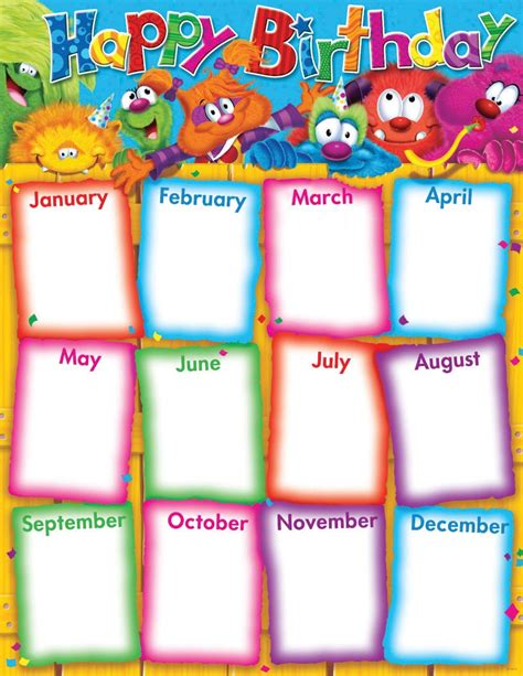 birthday chart template for classroom 6 best images of classroom birthday chart template free