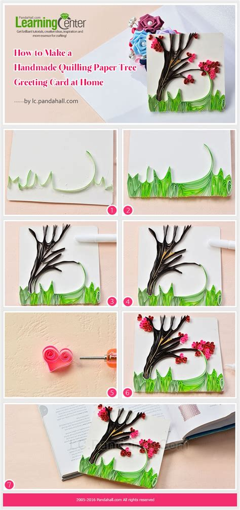 How To Make Handmade Cards At Home - tutorial on how to make a handmade quilling paper tree