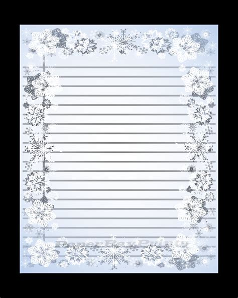 printable lined paper with snowflake border christmas