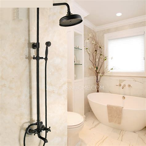 Shower Bath Set black oil rubbed bronze cross handle exposed shower