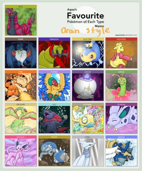 Favorite Pokemon Meme - favorite pokemon of each type meme oran style by