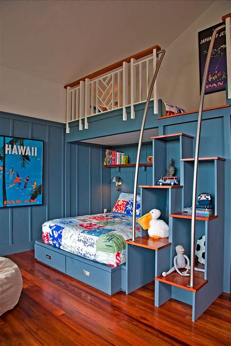 kids bedroom shelves staggered steps also double as cool shelving in the