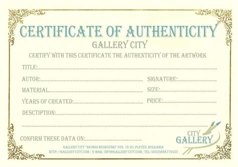 free certificate of authenticity template certificate of authenticity templates free