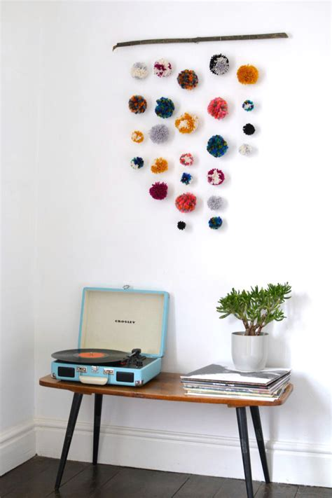 make wall decorations at home diy pom pom wall hanging burkatron