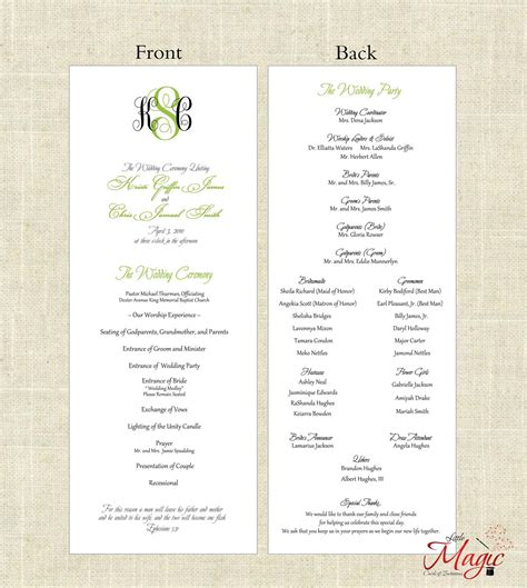 one page wedding program template template design