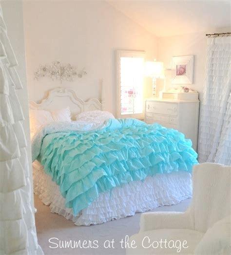 teal ruffle bedding aqua teal ruffles polka dot duvet comforter cover set