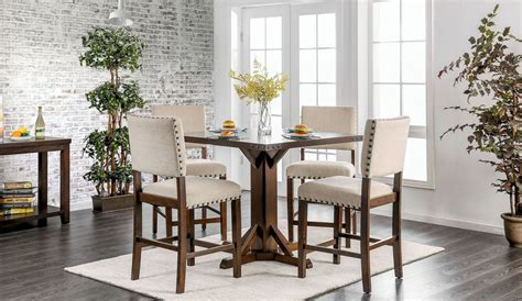 ivory dining room sets glenbrook brown cherry and ivory counter height dining room set from furniture of america