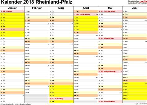 Kalender 2018 Zum Ausdrucken Mit Ferien Rlp Kalender 2018 Rheinland Pfalz Ferien Feiertage Pdf Vorlagen