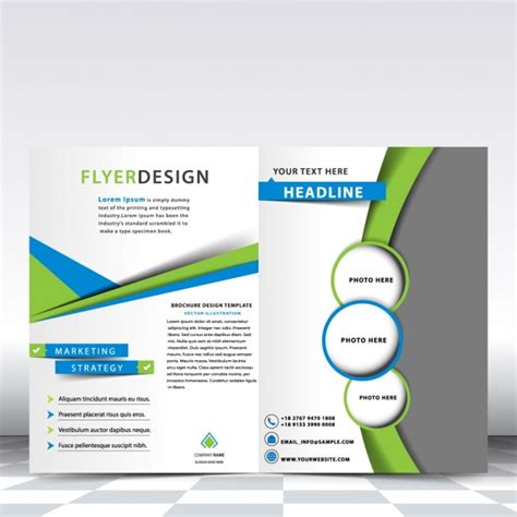 blue and green brochure template vector free