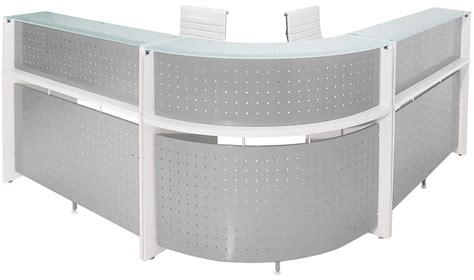 White Curved Reception Desk White Curved L Shaped Glass Top Reception Desk