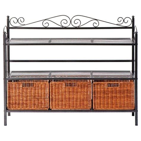 Bakers Rack With Storage by Metal Bakers Rack Wicker Storage Baskets Shelves Kitchen