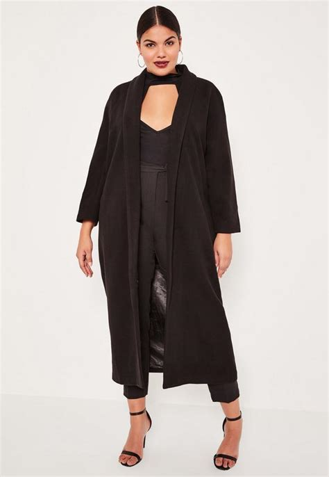 Dress Grandis Set Free Pasmina plus size black shawl collar faux wool maxi coat missguided