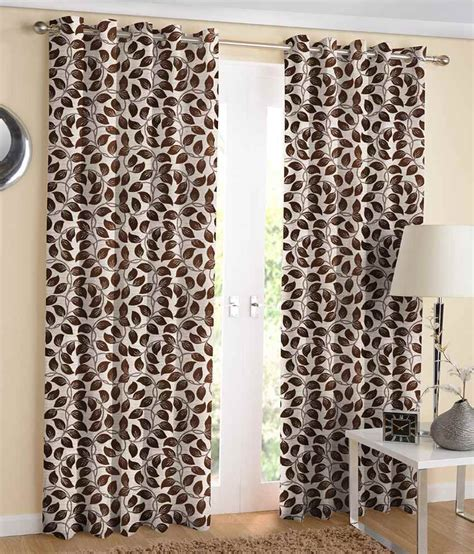 brown leaf curtains jacquard brown leaf design eyelet window curtain pack of 2